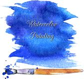 Blue abstract watercolor background with brush Royalty Free Stock Photos
