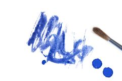 Blue abstract watercolor brush splash Royalty Free Stock Photography