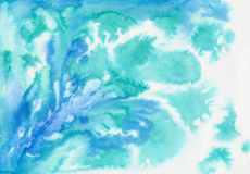 Blue abstract watercolor painting Stock Photo