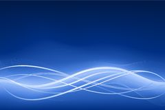 Blue abstract wave background with neon effects Stock Photography