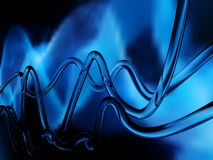 Blue abstract waves. Glass waves and blue background Stock Photos