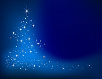 Blue abstract winter background. With stars Christmas tree Stock Photos