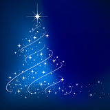 Blue abstract winter background. With stars Christmas tree Stock Photo