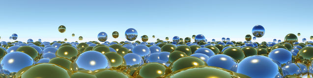 Blue abstraction with balls Stock Photography