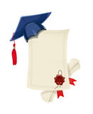 Blue academicic graduation cap with diploma blank and scroll Stock Photography
