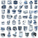 Blue account icons. Huge set of blue account icons, vector illustration stock illustration