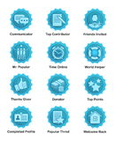 Blue achievement badges for web, apps, blogs, forums. A set of glossy blue achievement winnwer badges to appreciate top contributors. For web, social Stock Image