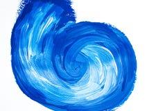 Blue acrylic vortex background. Painted swirling element Stock Illustration
