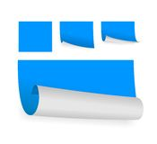 Blue adhesive papers. Set of few little blue edhesive papers Royalty Free Stock Image