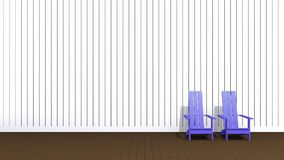 Blue Adirondack chairs. 3D illustration blue Adirondack chairs in empty room Royalty Free Stock Photography