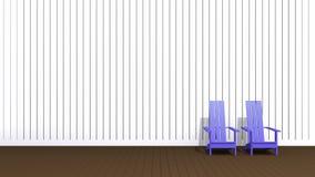 Blue Adirondack chairs. 3D illustration blue Adirondack chairs in empty room Vector Illustration