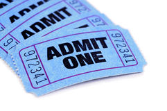 Blue admit one movie ticket isolated white background. Several blue admit one tickets on a white background Stock Photo
