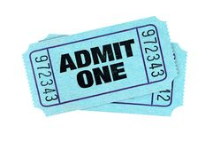 Blue admit one movie tickets isolated white. Blue admit one movie tickets isolated royalty free stock photo