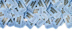 Blue admit one movie tickets top border, copy space, white background Royalty Free Stock Photography