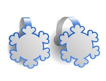 Blue advertising wobblers shaped like snowflakes Stock Photo