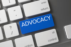 Blue Advocacy Button on Keyboard. Blue Advocacy Keypad on Keyboard. Button Advocacy on White Keyboard. Advocacy Concept: Modern Laptop Keyboard with Advocacy stock photo