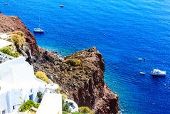 Blue Aegean Sea in Santorini, Greece. Deep blue Aegean Sea in Santorini (Oia), Greek Islands Royalty Free Stock Photo