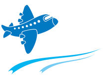 Blue aeroplane Royalty Free Stock Images
