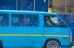 Blue african taxi stock images