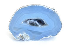 Blue Agate Geode. Blue Cut Agate Geode with Crystals Inside Stock Photography