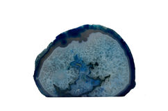 Blue Agate geode. Sample of  blue Agate geode a beautiful nature specimen isolated on white background Stock Image