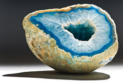 Blue agate with hole Stock Image