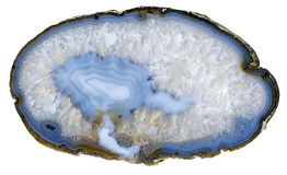 Blue agate. Thin slice of blue agate geodes with concentric layers Stock Photo