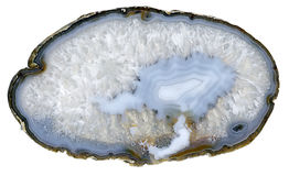 Blue agate. Thin slice of blue agate geodes with concentric layers Stock Photos