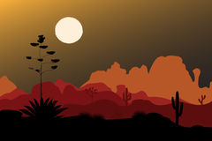 Blue agave silhouette in night desert. Mountains background. Vector illustration. Blue agave flower silhouette in night desert. Mountains background. Vector Stock Photo