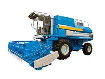 Blue agricultural harvester Stock Images