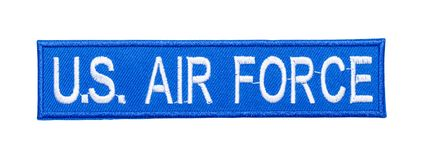 Air Force Patch. Blue Air Force Patch Isolated on a White Background royalty free stock photography