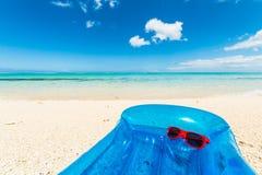 Blue air mattress horizontal Royalty Free Stock Image