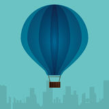 Blue airballoon with city turquoise background Royalty Free Stock Photo