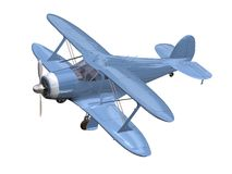 Blue airplane. Biplan 3D isolated Royalty Free Stock Photo