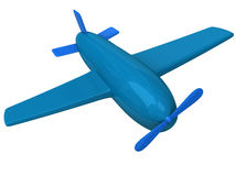 Blue airplane 3d. Blue abstract 3d airplane toy Royalty Free Stock Images