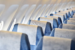 Blue airplane empty seats Stock Photography