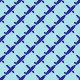 Blue airplane flying seamless pattern Royalty Free Stock Photography