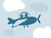 Blue airplane with happy passengers. Vector design of a blue airplane with two happy passengers vector illustration
