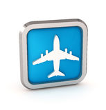 Blue airplane icon Royalty Free Stock Photography