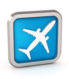 Blue airplane icon Stock Photo