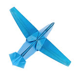 Blue airplane of origami. Royalty Free Stock Images