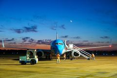 Airplane parking at the airport stock photography