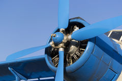 Blue airplane propeller Royalty Free Stock Photo