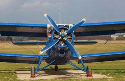 Blue airplane Stock Photo