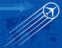 Blue Airplane Travel Background. With arrows and a world map Royalty Free Stock Image