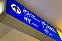 Blue airport direction sign Royalty Free Stock Images