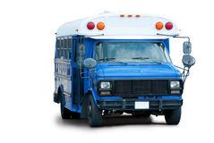 Blue airport shuttle bus isolated Royalty Free Stock Photography