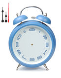 Blue Alarm-Clock. Blue classic clock alarm-clock isolated with clipping paths over white background Royalty Free Stock Photography