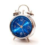 Blue alarm clock. Isolated on white background Stock Image