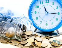 Blue alarm clock with Asian coins Stock Photography
